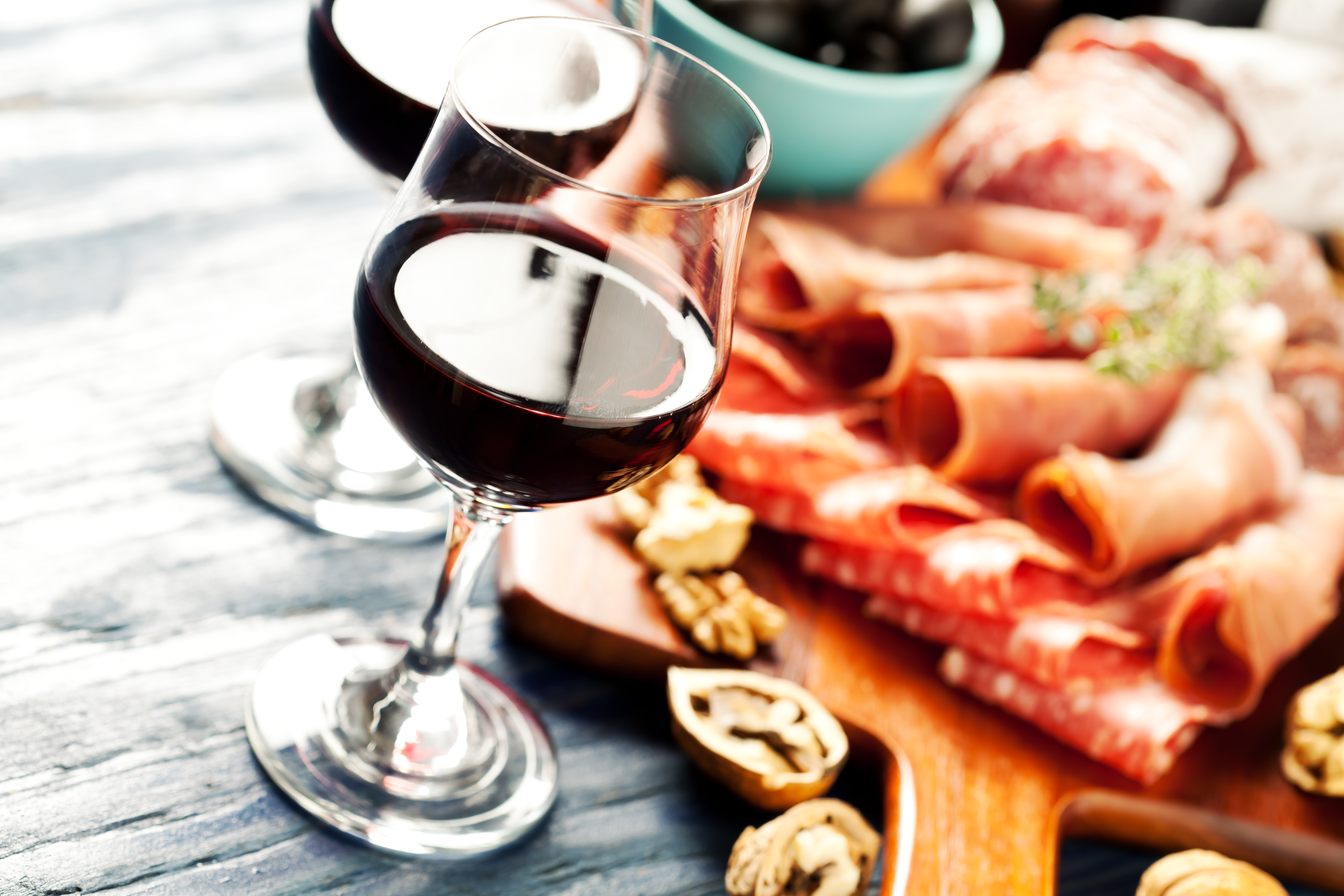 Close-up of wine and charcuterie at wine bar